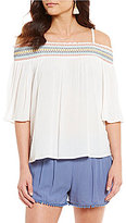 I.N. San Francisco Embroidered Neckline Off-The-Shoulder Top