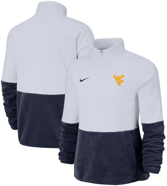 Nike Women's White/Navy West Virginia Mountaineers Colorblock Performance Half-Zip Pullover Jacket