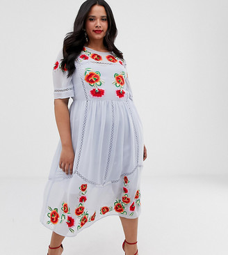Asos DESIGN Curve embroidered smock midi dress with ladder trims