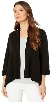 Lilla P French Terry Open Cardigan (Black) Women's Clothing