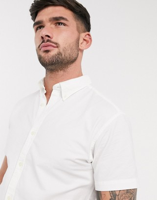 Selected short sleeve oxford shirt in white