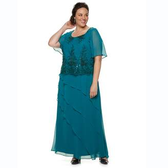 Le Bos Plus Size Embroidered Sequin Dress