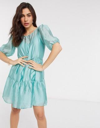 Vila organza mini smock dress in blue