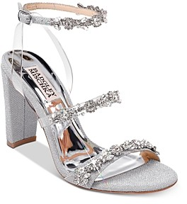Badgley Mischka Women's Adel Crystal Embellished Block Heel Sandals