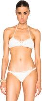 She Made Me Savarna Triangle Bikini Top in White.