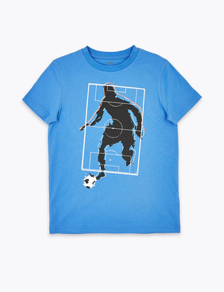 Marks and Spencer Pure Cotton Football Print T-Shirt (6-16 Years)