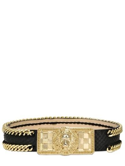 Balmain 40mm Python Printed High Waisted Belt