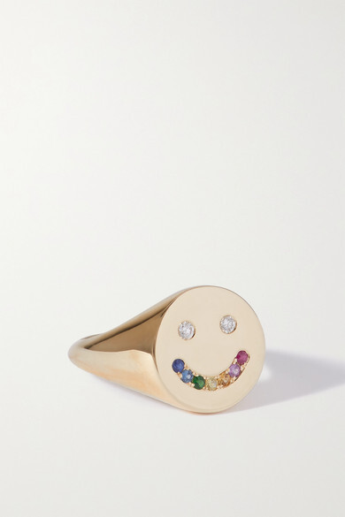 Thumbnail for your product : Roxanne First Rainbow Smiley 14-karat Gold, Sapphire And Diamond Ring - H