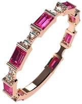 Nana Silver Stackable Ring Baguette Cut Rose Gold Flashed - Size 7 - Simulated Pink Tourmaline - Oct. Birthstone