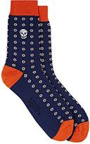 Alexander McQueen Men's Embroidered Cotton-Blend Mid-Calf Socks