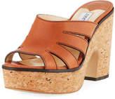 Jimmy Choo Dray Leather Cork Platform Slide Sandal