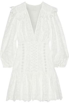Zimmermann Honour Button-detailed Broderie Anglaise Cotton Mini Dress