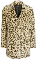 Casual leopard faux fur coat