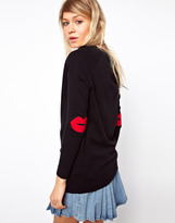 Asos Patch Boyfriend Cardigan With Red Lips
