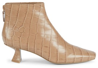Mercedes Castillo Valerie Croc-Embossed Leather Ankle Boots
