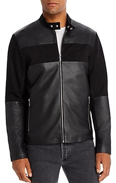 Karl Lagerfeld Paris Leather & Suede Blocked Racer Jacket