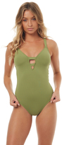 Seafolly Active Deep V Maillot One Piece Green