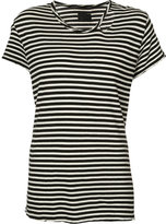 RtA striped distressed trim T-shirt - women - Cotton - XS