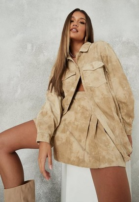 Missguided Sand Tie Dye Co Ord Oversized Cord Shirt