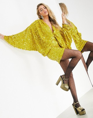 ASOS EDITION plunge mini dress in yellow sequin