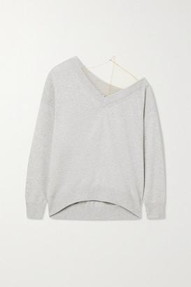 Alexander Wang Asymmetric Tulle-trimmed Wool-blend Sweater - Light gray