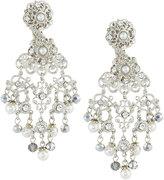 Jose & Maria Barrera Silvertone Crystal & Pearly Filigree Chandelier Earrings
