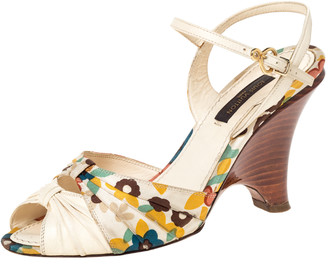 Louis Vuitton Multicolor Floral Print Fabric And Leather Ankle Strap Wedge Sandals Size 35