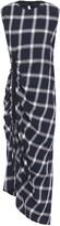 McQ Asymmetric Flannel-paneled Gathered Checked Twill Midi Dress