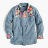 J.Crew Girls' limited-edition floral embroidered chambray shirt