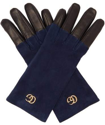 Gucci Gg Suede Gloves - Womens - Blue