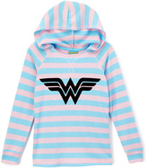 Jerry Leigh Blue & Pink Stripe Wonder Woman Shield Hooded Tee - Girls