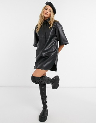 Topshop faux leather oversized shirt dress in black