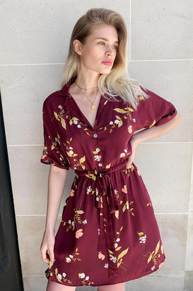 Urban Outfitters Matilda Burgundy Floral Shirt Dress