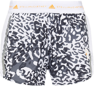 adidas by Stella McCartney Mesh-paneled Leopard-print Shell Shorts