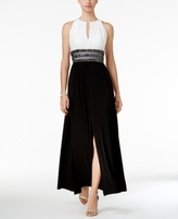 R & M Richards Petite Colorblocked Embellished Halter Gown