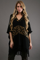 Minnie Rose V-Neck Jacquard Poncho in Black/ Solid Gold