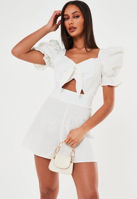 Missguided Cotton Poplin Tie Front Playsuit