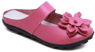 Rumour Has It Women's Mules Pink - Pink Floral Strappy Leather Mule - Women