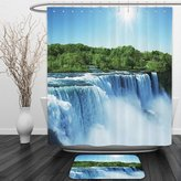 Vipsung Shower Curtain And Ground MatNatural Waterfall Decor Collection Majestic Waterfall Flowing Landscape by the Forest Mist Fantastic Photo Blue White GreenShower Curtain Set with Bath Mats Rugs