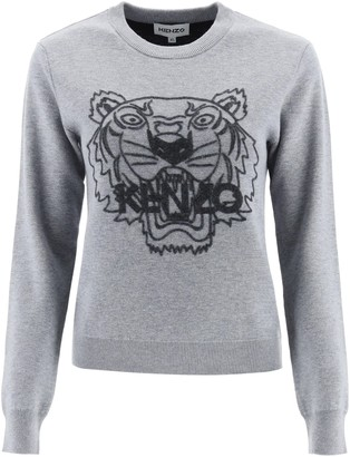 Kenzo SWEATER WITH TIGER EMBROIDERY M Grey Wool, Cotton