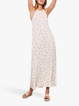Mint Velvet Spot Halter Maxi Dress, Cream