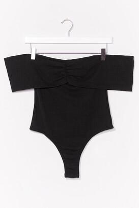 Nasty Gal Womens Take It Off-the-Shoulder Ribbed High-Leg Bodysuit - Black - 4
