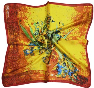 Tony And Candice TONY&CANDICE Women's Graphic Print 100% Silk Square Scarf Neckerchief 20 * 20 Inches (Van Gogh's Sunflower)