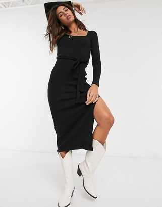 Topshop ribbed midi dress in black