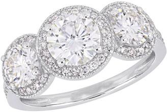 Stella Grace 14k White Gold 1/3 Carat T.W. Diamond & Lab-Created Moissanite Double Halo Engagement Ring