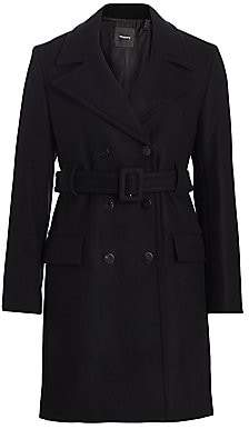 Theory Women's Stretch Wool Melton Long Peacoat