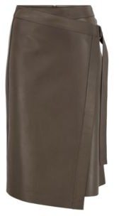 HUGO BOSS Nappa-leather wrap skirt with D-ring detail