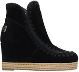 Mou Eskimo Jute Low Heels Ankle Boots In Black Suede