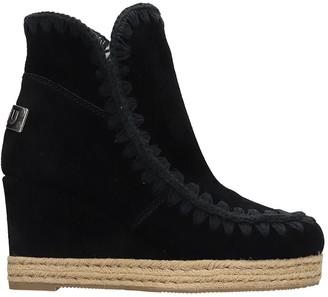 Mou Eskimo Jute Low Heels Ankle Boots In Black Suede