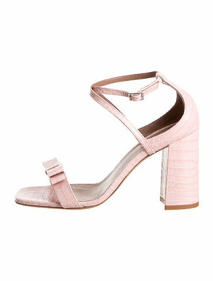 Tabitha Simmons Leather Bow Accents Sandals Pink
